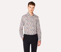 Tailored-Fit White Liberty Floral Print Shirt