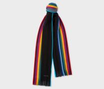 Black Rainbow-Edge Merino Wool Scarf