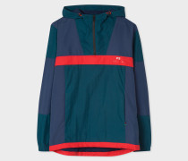 Navy And Red Showerproof Anorak With Contrast Panels