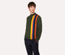 Racing Green Merino-Wool Zip Cardigan With Large 'Artist Stripe'