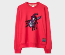 Red Sequin 'Beetle' Cotton Sweatshirt