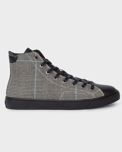 Black And White Check 'Sirius' High-Top Trainers