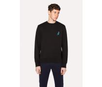 Black Cotton Embroidered 'Dino' Sweatshirt
