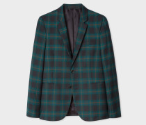 Slim-Fit Teal Check Fully-Lined Wool Blazer
