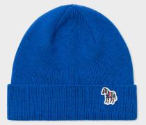 Blue 'Zebra' Logo Ribbed Lambswool Beanie Hat