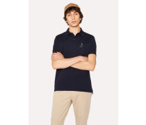 Slim-Fit Navy Cotton-Piqué Polo Shirt With Embroidered 'Koi Carp'