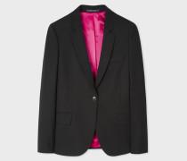 Black Wool-Hopsack Blazer With 'Acapulco' Lining