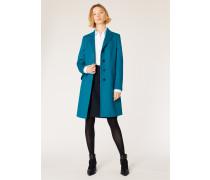 Dark Turquoise Wool-Cashmere Epsom Coat
