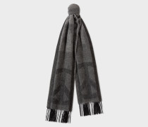 Dark Grey and Black Cashmere 'Peace' Scarf