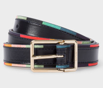 Navy 'Artist Stripe' Edge Leather Belt