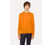 Burnt Orange Crew-Neck Merino Wool Sweater
