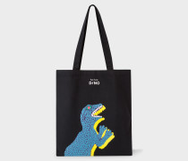 Black 'Dino' Printed Canvas Tote Bag