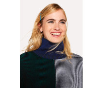 Indigo Geometric Stripe Wool Roll Neck Sweater