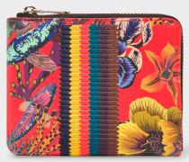 Red 'Ocean' Print Leather Corner-Zip Wallet With 'Bright Stripe' Webbing