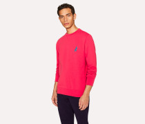 Coral Pink Cotton Embroidered 'Dino' Sweatshirt