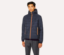 Navy Quilted Hooded Jacket With 'Artist Stripe' Trims