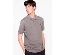 Grey Marl Cotton-Piqué Embroidered 'Dino' Polo Shirt
