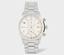 Off-White And Stainless Steel 'Block' Chronograph Watch