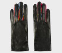 Black 'Concertina Swirl' Leather Gloves