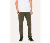 Tapered-Fit Khaki Garment-Dye Jeans