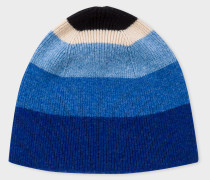 Blue Striped Wool Beanie Hat