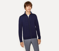 Dark Indigo Funnel Neck Merino Wool Zip Cardigan