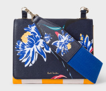 Navy 'Pacific Rose' Print Calf Leather Cross-Body Bag