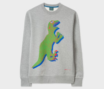 Grey Marl Organic-Cotton Large Dino Sweatshirt