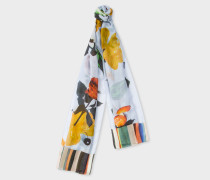 Light Blue 'Still Life Bloom' Print Scarf