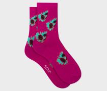 Fuchsia Floral Motif Socks