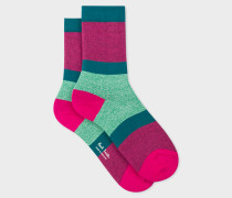 Pink Flecked-Stripe Socks