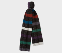 Black Donegal Stripe Wool Scarf
