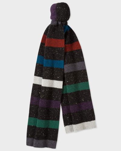 Black Donegal Stripe Wool Scarf