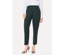 A Suit To Travel In -  Tailored-Fit Dark Green Wool Double-Pleat Trousers