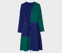 V-Neck Cobalt Blue And Green Colour Block Dress