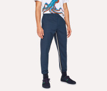 Indigo Wool-Blend Trousers With Stripe Detail