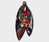 Multi-Coloured 'Villa Collage' Print Silk Square Scarf