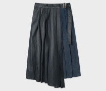 Dark Navy Leather Pleated Midi Skirt