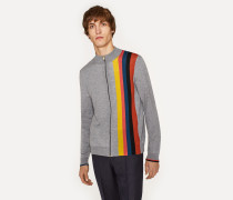 Grey Marl Merino-Wool Zip Cardigan With Large 'Artist Stripe'