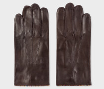 Brown Leather Gloves With 'Signature Stripe' Piping