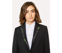 Slim-Fit Black Wool-Mohair Blazer With Lapel Embroidery