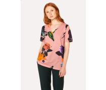 Pink 'Rose' Print Cotton T-Shirt