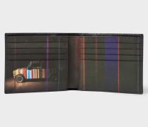 Black Leather 'Mini' Print Interior Billfold Wallet