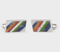 Multi-Coloured Stripe Stone Cufflinks