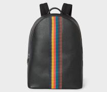 Black Leather 'Bright Stripe' Backpack