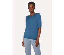 Petrol Merino Wool And Silk-Blend Knitted T-Shirt