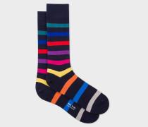 Navy Multi-Coloured Stripe Socks