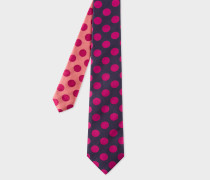 Navy And Fuchsia Polka Dot Contrast-Tip Silk Tie
