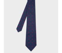 Navy Embroidered 'Heart' Motif Silk Tie
