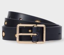 Navy 'Gold Star' Leather Belt